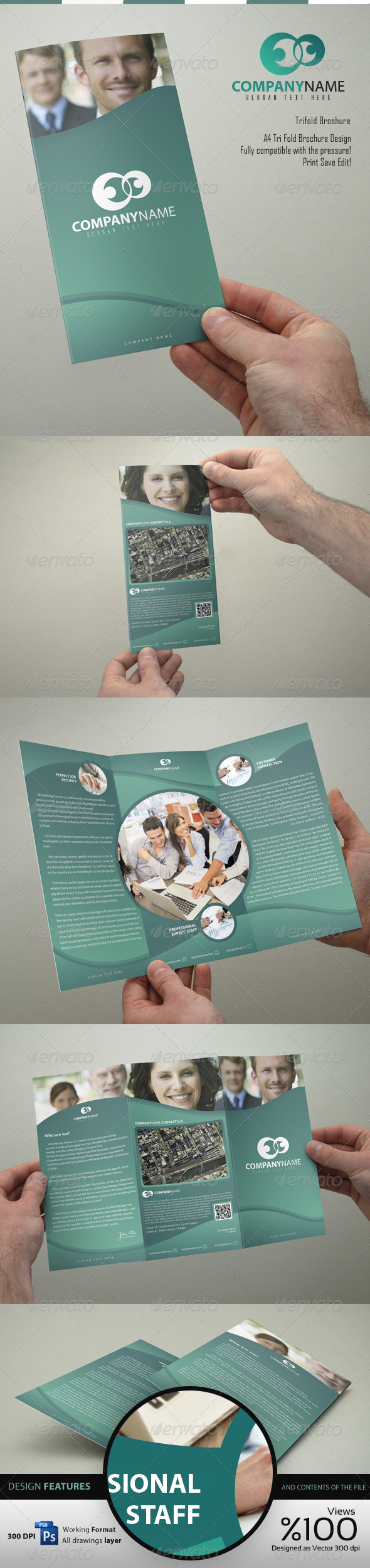 Company Trifold - 1 Brochure Design - Brochures Print Templates