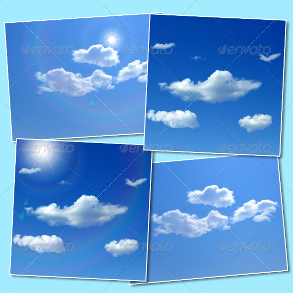 Sky Backgrounds with Clouds and Sun - Backgrounds Decorative