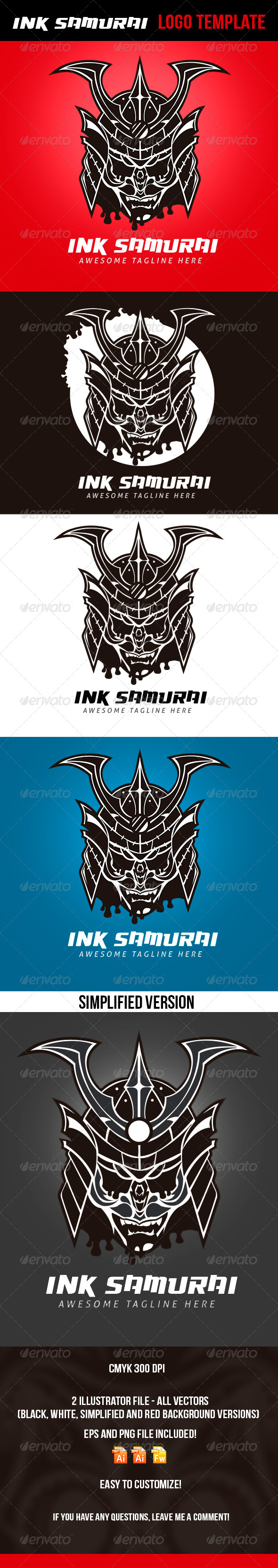 Ink Samurai Logo Template - Logo Templates
