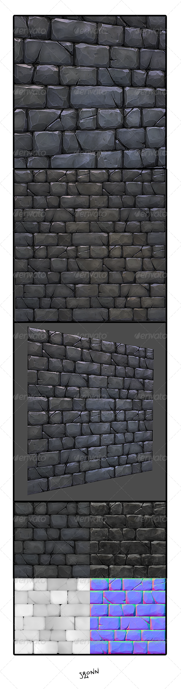 Stone Wall Tile 02 - 3DOcean Item for Sale