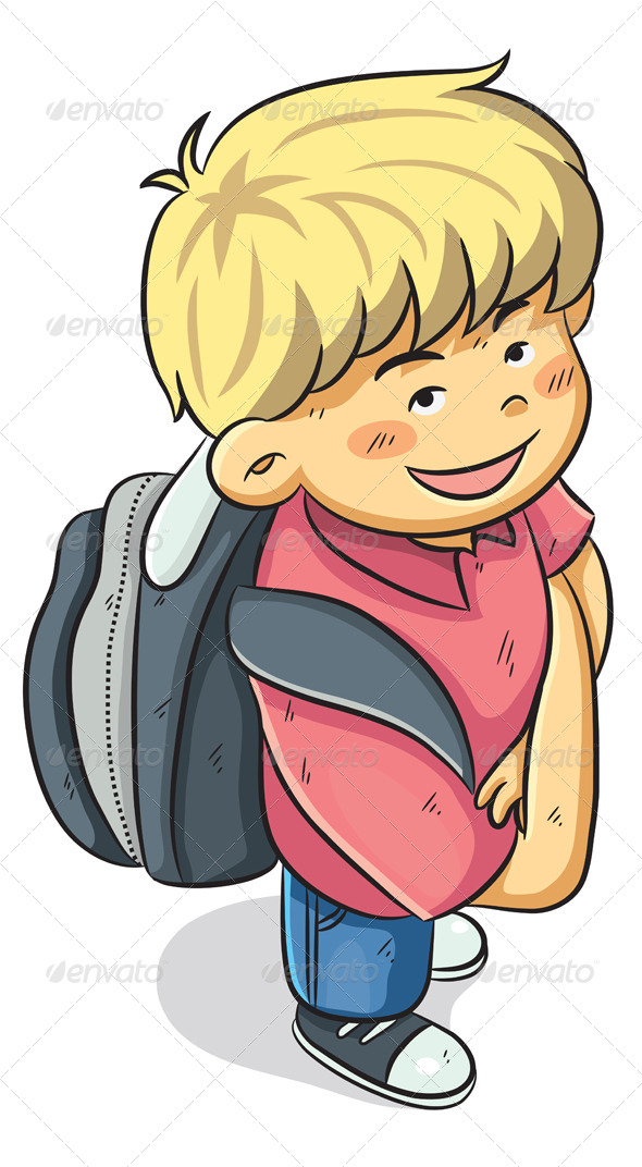 Boy Go to School - People Characters
