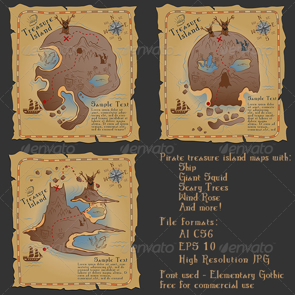 Pirate Treasure Maps Vector Illustrations Pack - Retro Technology