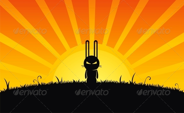 Silhouette of Rabbit - Landscapes Nature