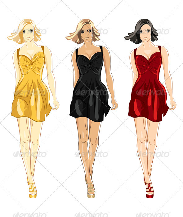Vector Set of Black, Red and Gold Little Dress  - People Characters