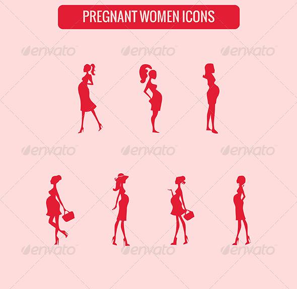 Pregnant Women Icons - Web Elements Vectors