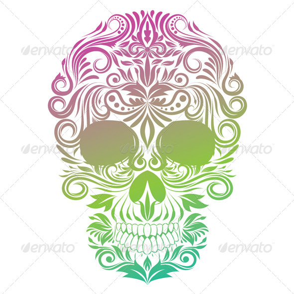 Floral Ornament Human Skull - People Characters