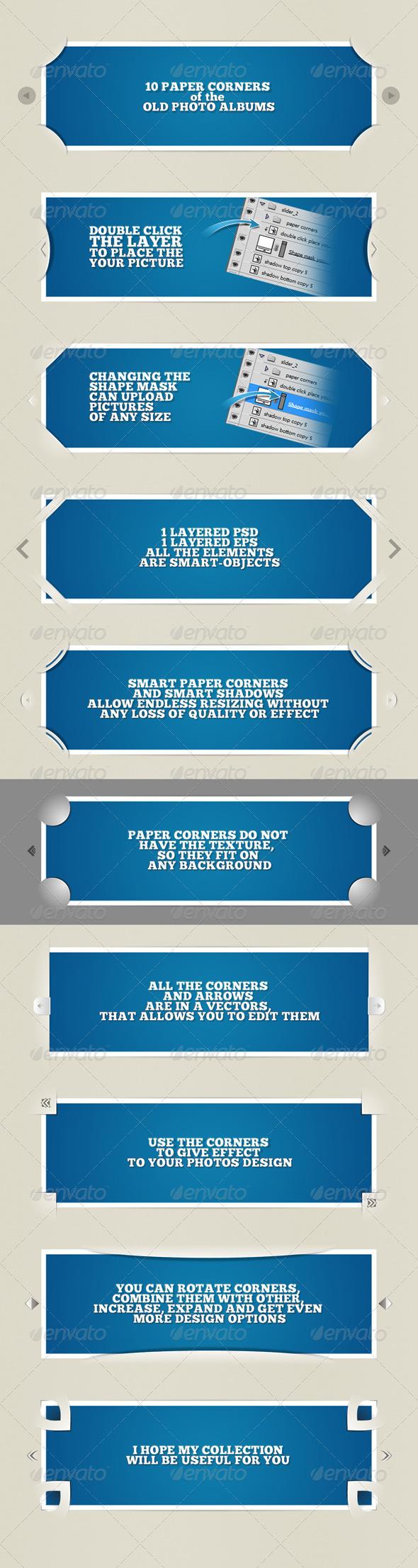 10 paper corners for photos - Miscellaneous Web Elements