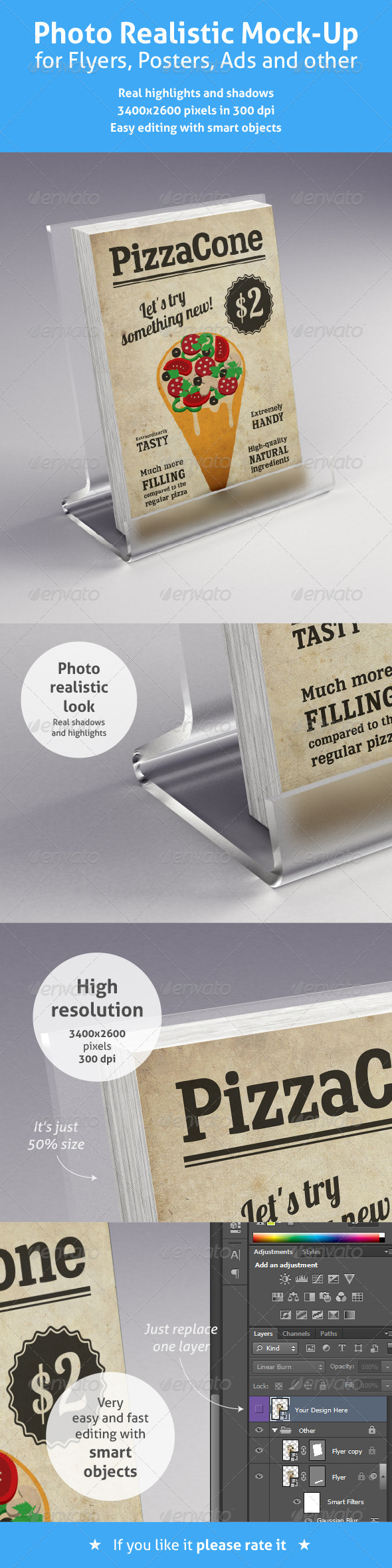 Realistic Mock-Up for Flyers, Posters and other - Flyers Print