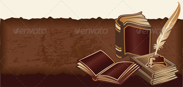 Vector Retro Background with Vintage Books - Retro Technology