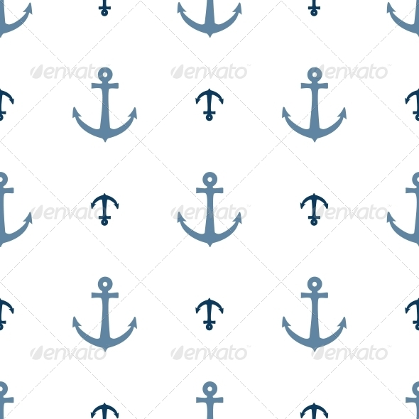 Seamless Vector Pattern with Anchors - Patterns Decorative