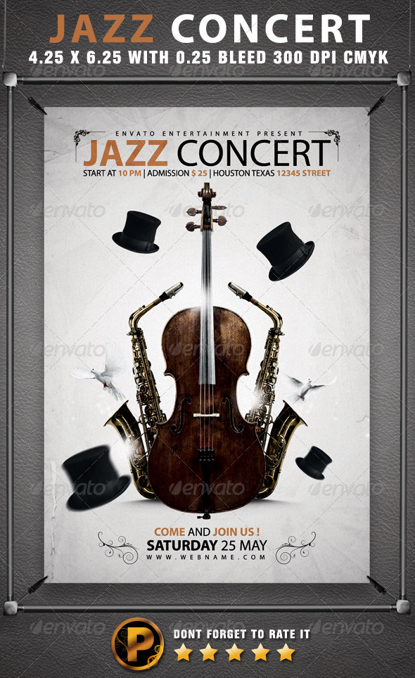 Jazz Concert Flyer Template By Prassiod  Graphicriver