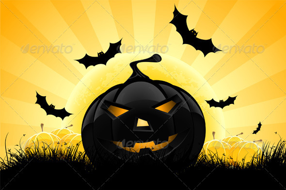 Halloween Background with Pumpkin - Halloween Seasons/Holidays