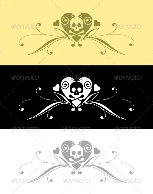 Heart and Skull - Decorative Symbols Decorative