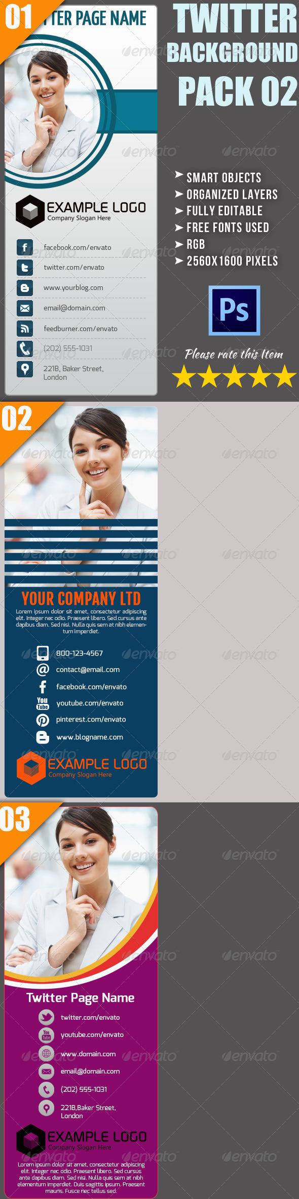 Corporate Twitter Background Bundle 02 - Twitter Social Media