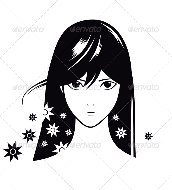 Girl with Flowers - Decorative Symbols Decorative