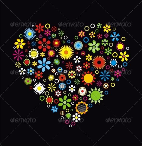 Flowers Heart - Valentines Seasons/Holidays
