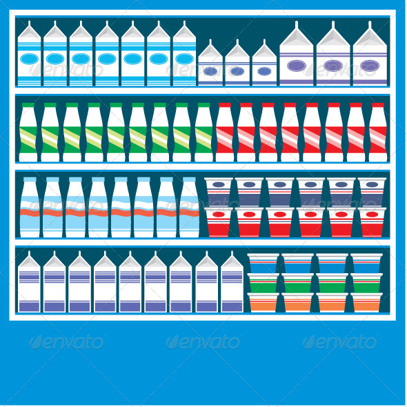 Supermarket Shelves with Dairy Products - Food Objects