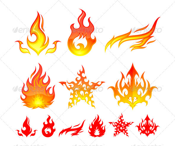 Fire Elements - Decorative Symbols Decorative