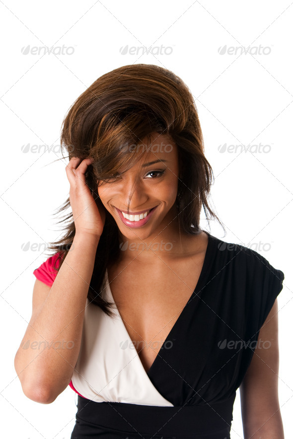 Smiling shy African woman - Stock Photo - Images