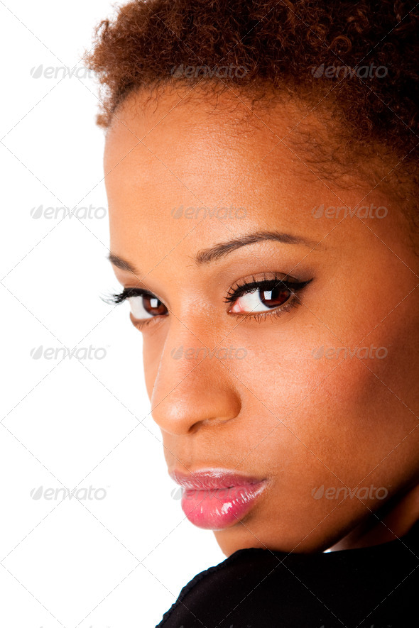 Face of beautiful African woman - Stock Photo - Images
