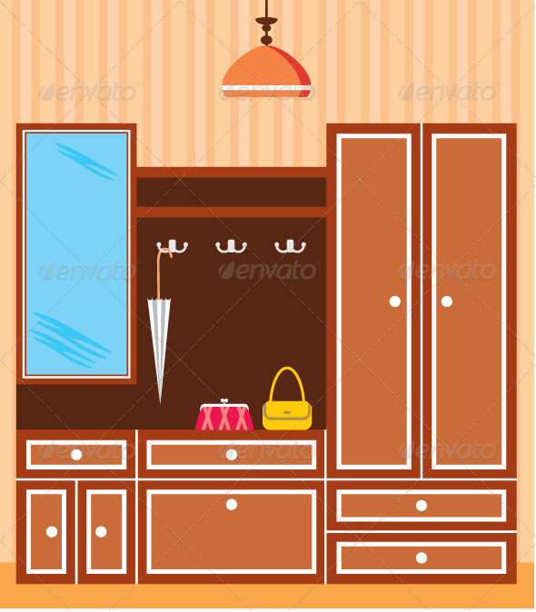 Image of Interior Closet in the Hallway  - Objects Vectors