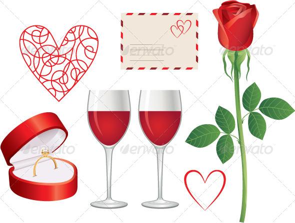 Valentine Day Icon Set - Decorative Symbols Decorative