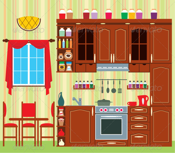 Picture of a Kitchen with a Window - Objects Vectors
