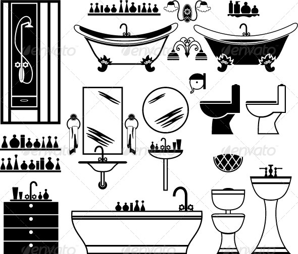 Set of Black Icons of Bathroom - Decorative Symbols Decorative