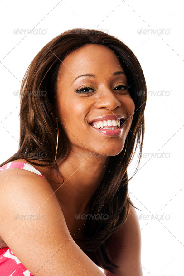 Smiling African woman face - Stock Photo - Images
