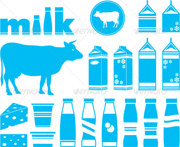 Set Icons of Milk, Dairy Products and Cow - Food Objects