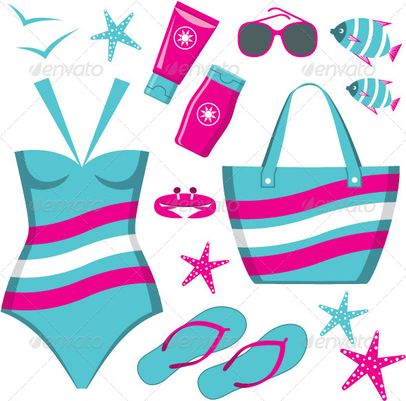 Fashionable Set with a Swimming Suit - Conceptual Vectors