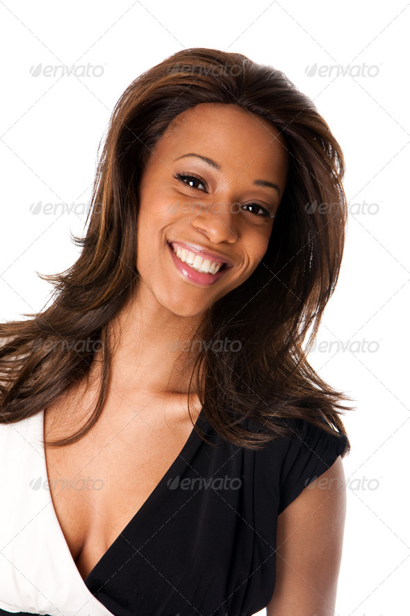 Happy African female face - Stock Photo - Images