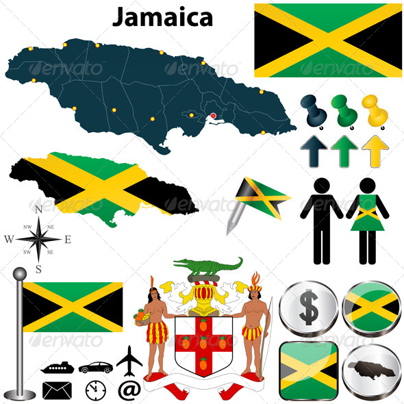 Map of Jamaica - Travel Conceptual