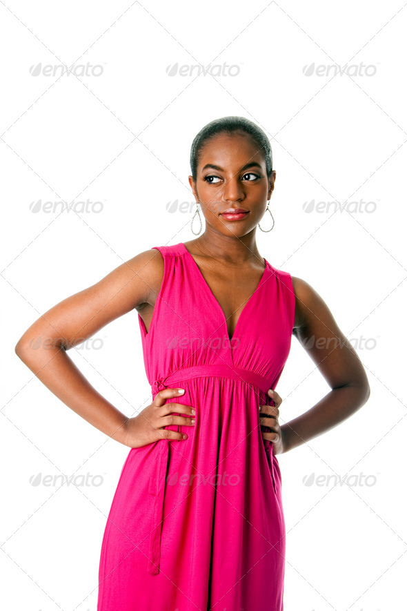 African business woman in dress - Stock Photo - Images