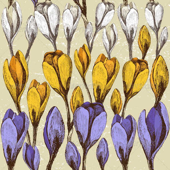 Seamless Background with Crocus Flowers - Patterns Decorative