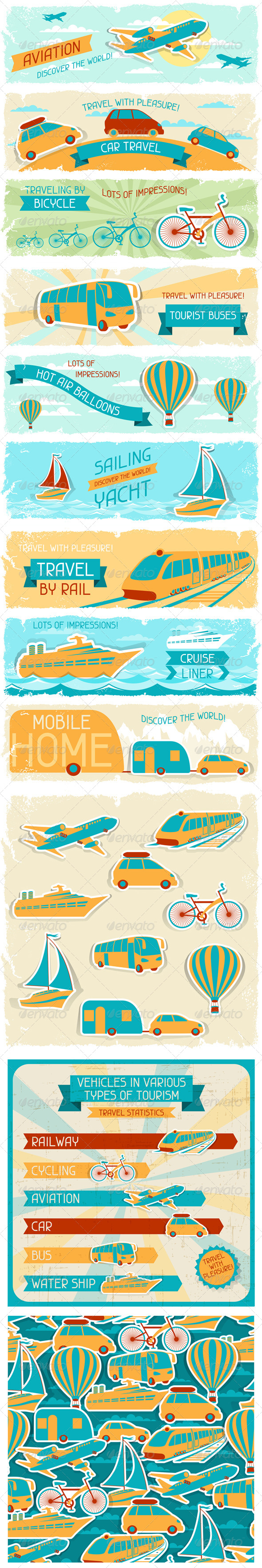 Set of Tourist Designs in Retro Style. - Travel Conceptual
