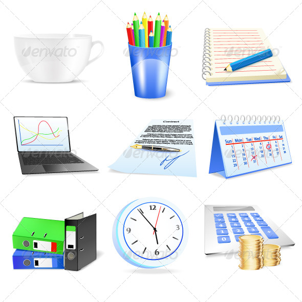 Office and Business Item Icons Set - Concepts Business