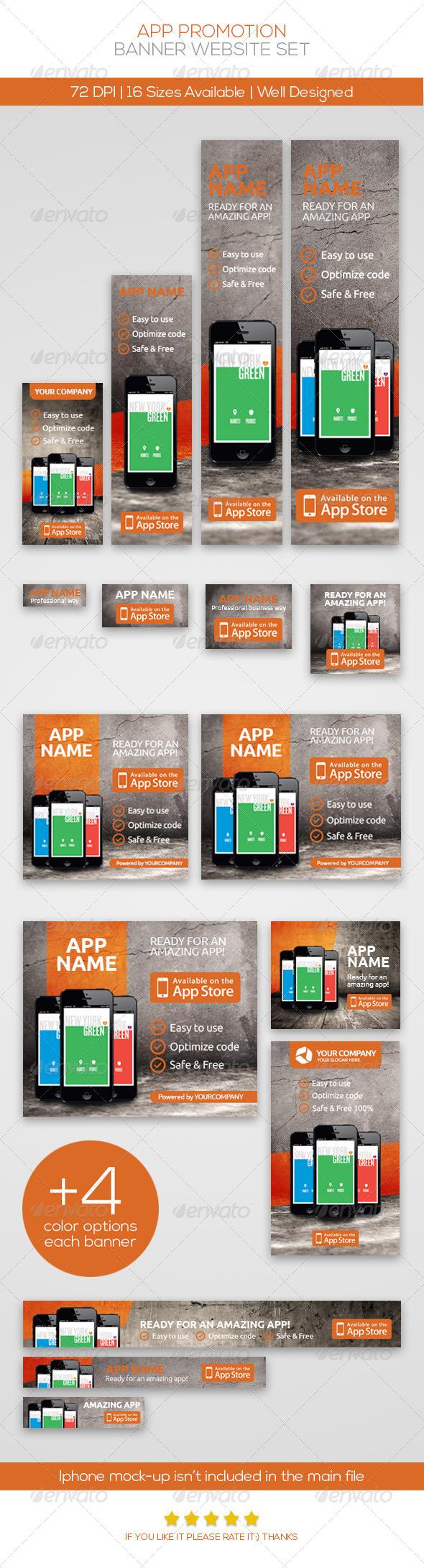 App Promotion Web Banner Set - Banners & Ads Web Elements