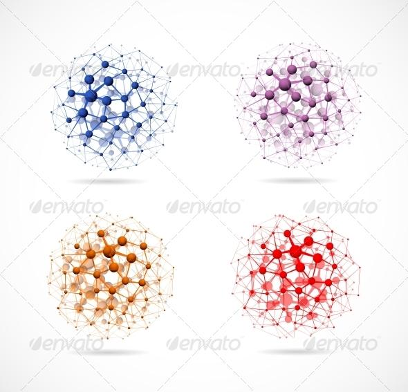 Four molecular Spheres - Decorative Symbols Decorative