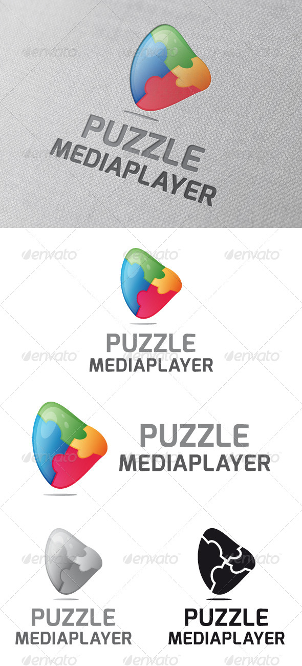 Puzzle Media Player Logo Template - Vector Abstract