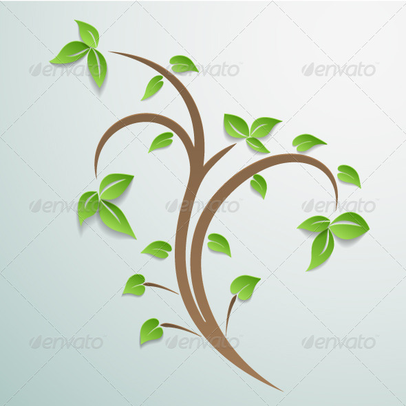 Abstract Tree with Leaves Background. - Backgrounds Decorative