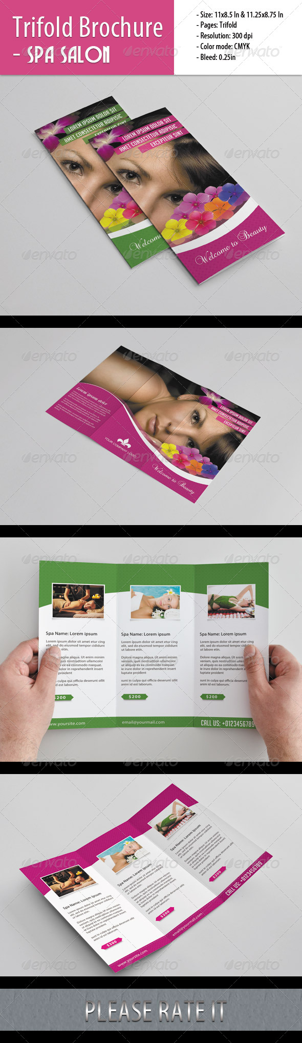 Trifold Brochure For Spa Salon - Corporate Brochures