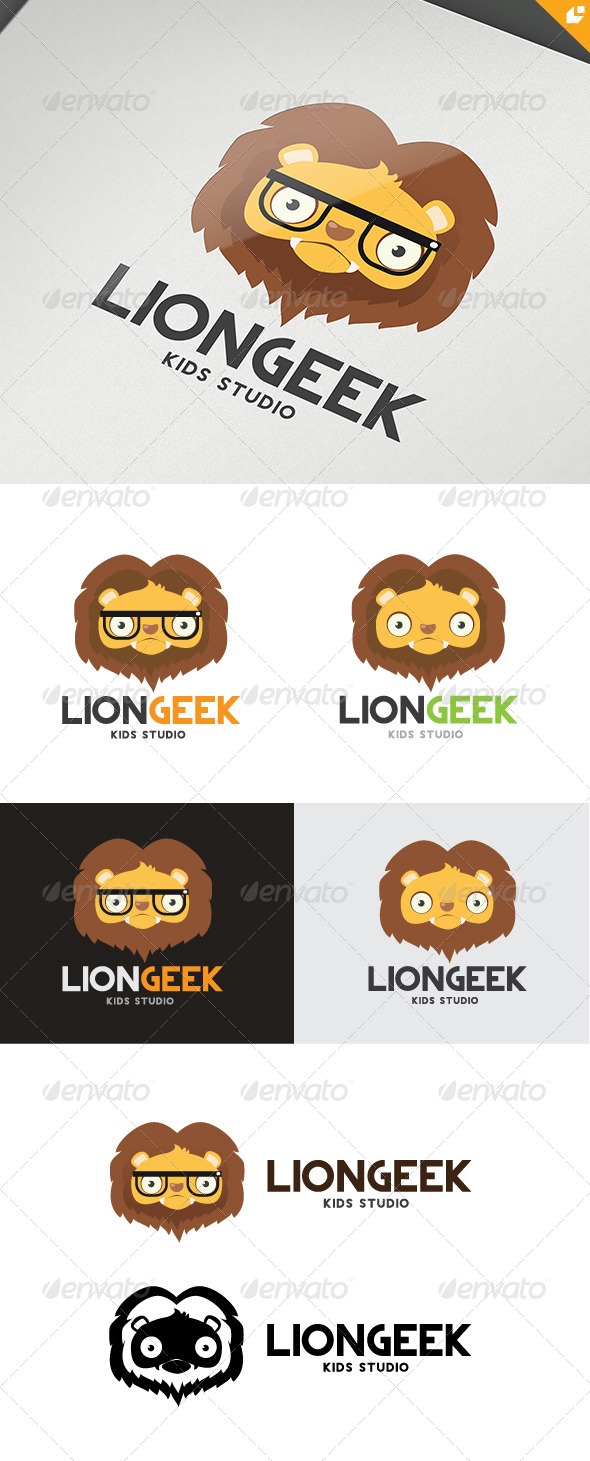 Lion Geek - Animals Logo Templates