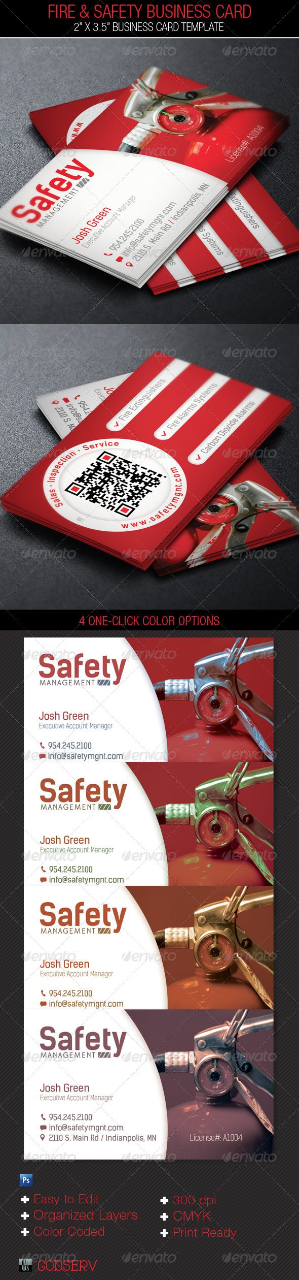 Fire Safety Service Business Card Template - Industry Specific Business Cards