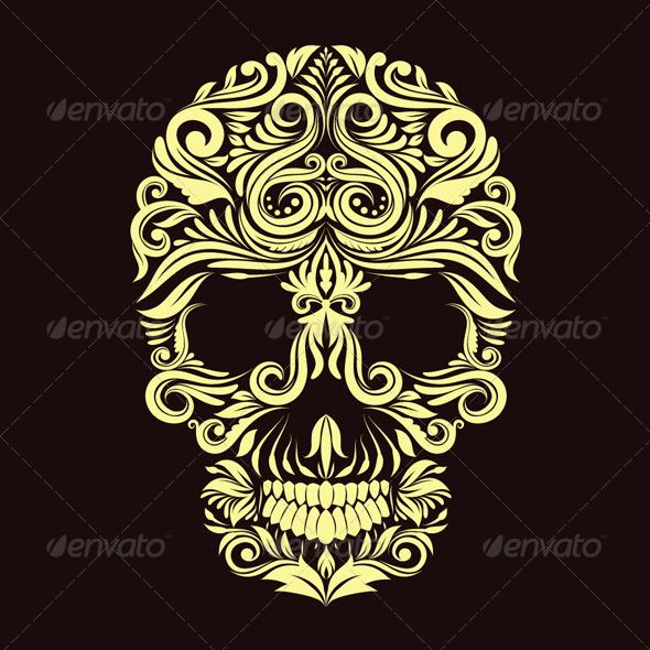 Dark Brown Ornament Skull - Decorative Symbols Decorative