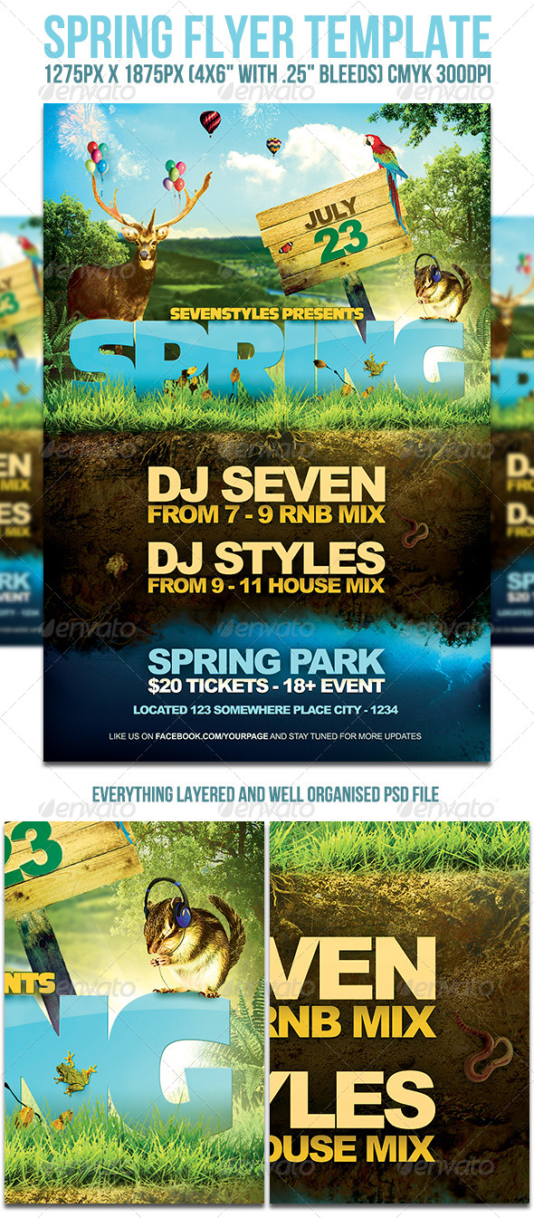 Spring Flyer Template - Flyers Print Templates