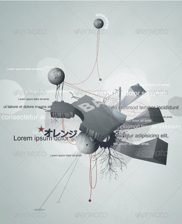 Abstract design with wires, debris - Abstract Conceptual