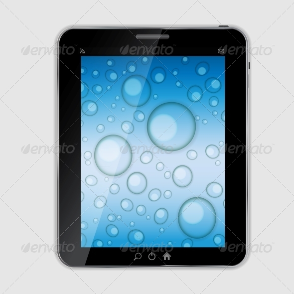 Tablet Icon Vector Illustration with Waterdrops - Computers Technology