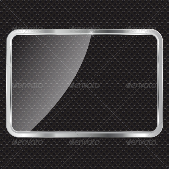Empty Glass Frame on Metal Background with Lights. - Backgrounds Decorative