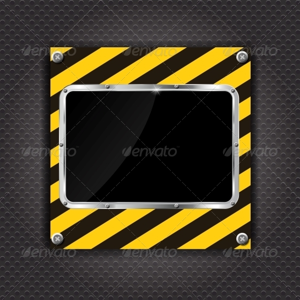 Glossy Black Plate on a Construction Background  - Backgrounds Decorative